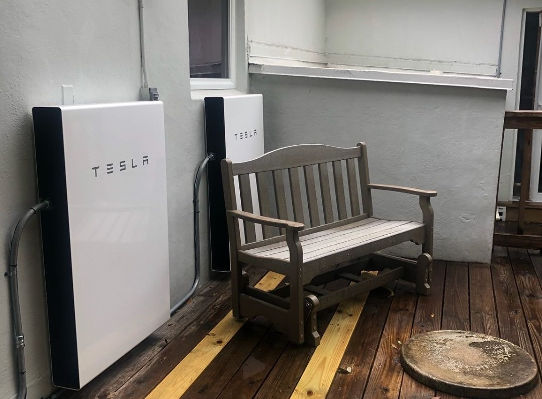powerwall installed in south miami on porch